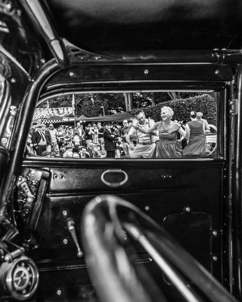 Dancing through vintage car