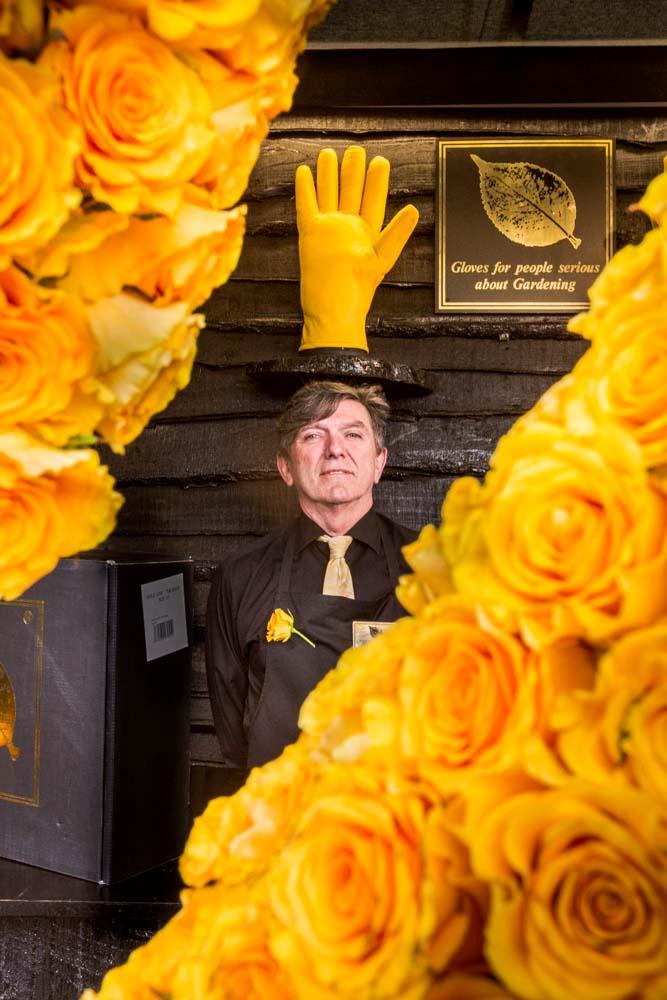 Gold Leaf Glove Stand, RHS Chelsea Flower Show 2014
