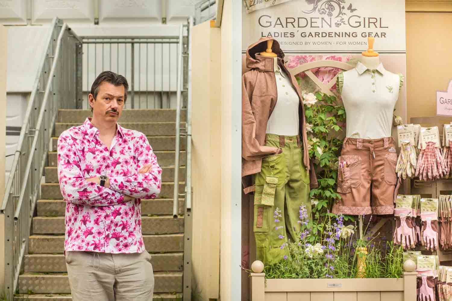 Man in pink floral shirt at RHS Chelsea Flower Show 2014